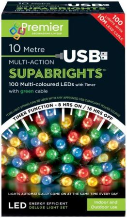 100 Multi Action LED Supabrights Multi Coloured Lights