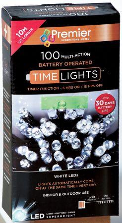 100 Multi Action LED White Lights (B/O)