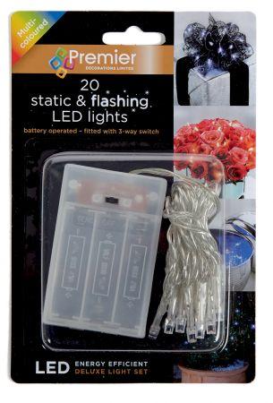 20 Multi Static & Flashing B/O LED Lights CDU