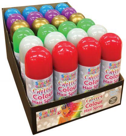 200ml Glitter Hair Spray Assorted Colours CDU