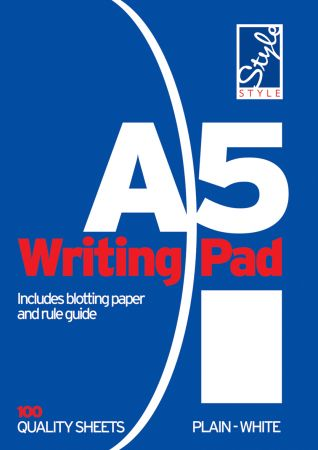Style A5 Writing Pad White Plain