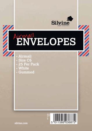 25 Air Mail Envelopes White C6 Gum