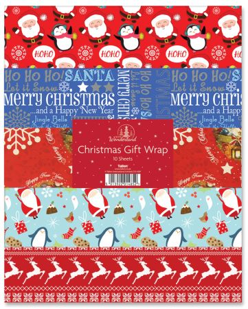 10 Sheets Christmas Flatwrap 750mm x 500mm