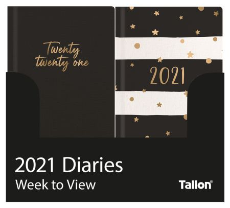 Slim Diary WTV Textured Linen Stars & Strips CDU