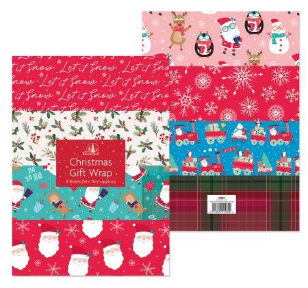 8 Sheets Christmas Gift Wrap Assts CDU