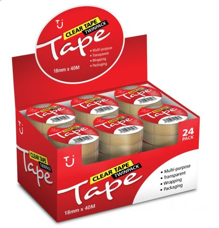 18mm x 40m Value Clear Tape Twin Pack CDU