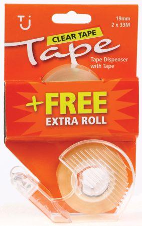 19mm x 33m Tape + Dispenser 1 Roll + 1 Roll Free